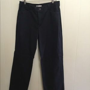 Classic black relaxed straight Lee pants 14L flat